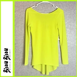 High low neon yellow bisou bisou long sleeve top